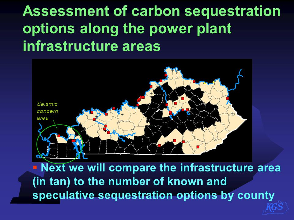 Assessment of carbon sequestration options along the power plant infrastructure areas