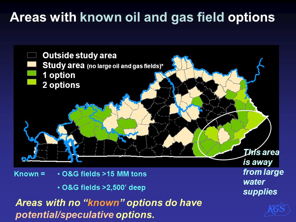 Areas with known oil and gas field options