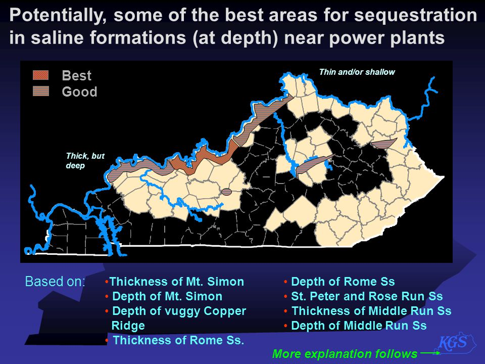 Potentially, some of the best areas for sequestration in saline formations (at depth) near power plants