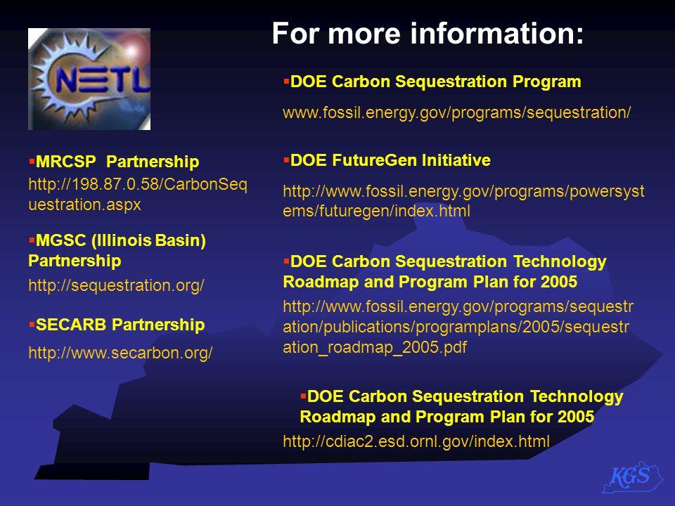For more information: DOE Carbon Sequestration Program