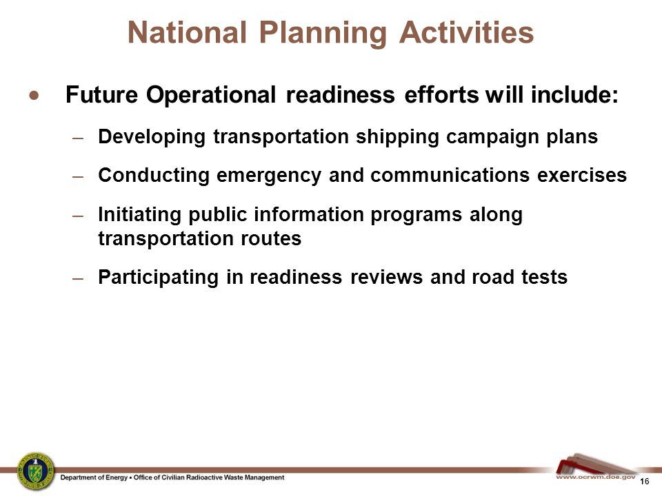 National Planning Activities