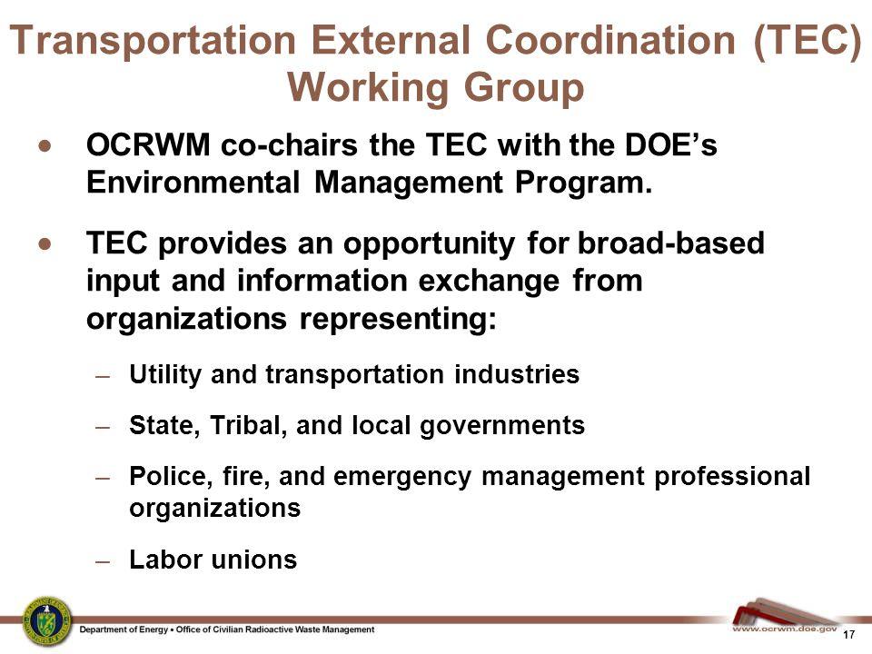 Transportation External Coordination (TEC) Working Group