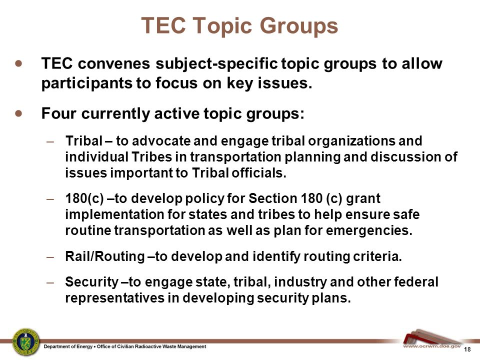 TEC Topic Groups TEC convenes subject-specific topic groups to allow participants to focus on key issues.