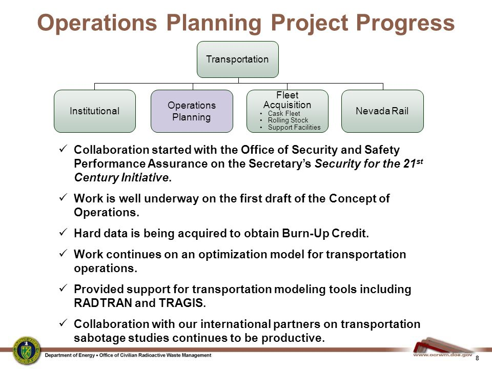Operations Planning Project Progress