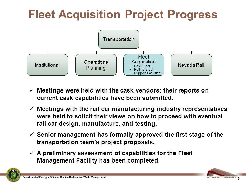Fleet Acquisition Project Progress