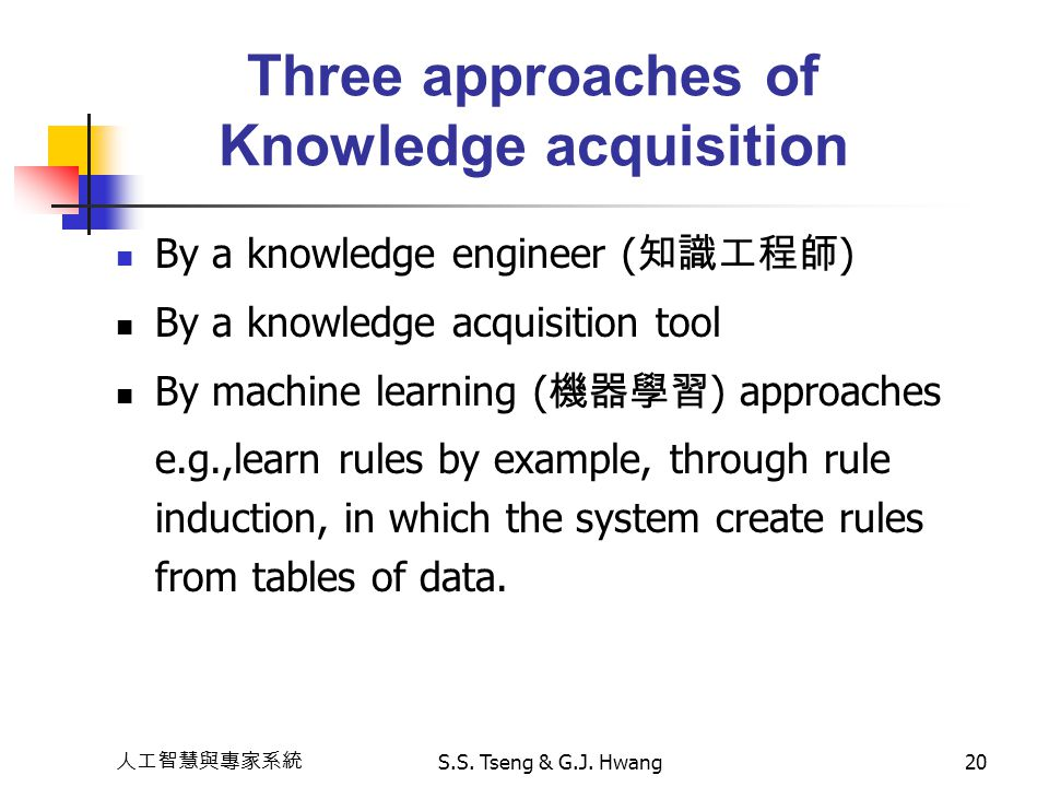 Three approaches of Knowledge acquisition
