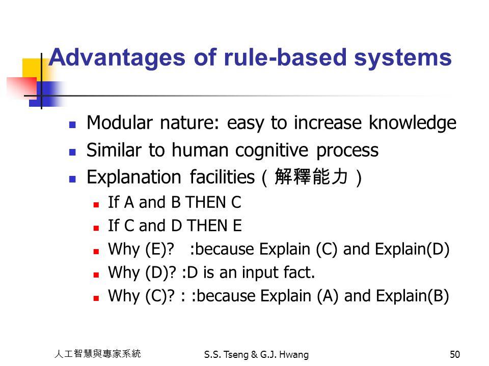 Advantages of rule-based systems