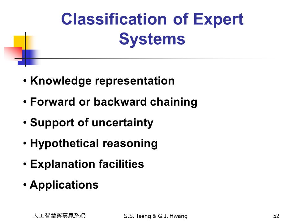 Classification of Expert Systems