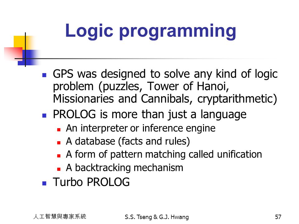 Logic programming GPS was designed to solve any kind of logic problem (puzzles, Tower of Hanoi, Missionaries and Cannibals, cryptarithmetic)