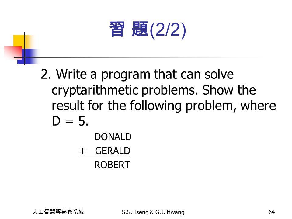 習 題(2/2) 2. Write a program that can solve cryptarithmetic problems. Show the result for the following problem, where D = 5.