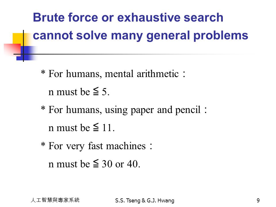 Brute force or exhaustive search cannot solve many general problems