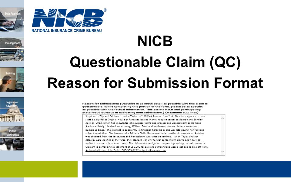 Questionable Claim (QC) Reason for Submission Format