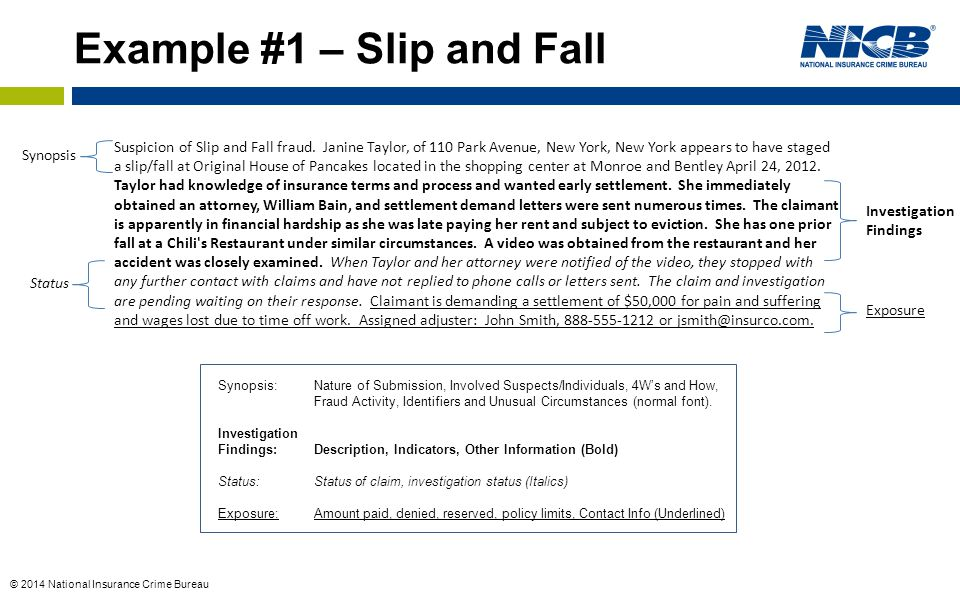 Example #1 – Slip and Fall