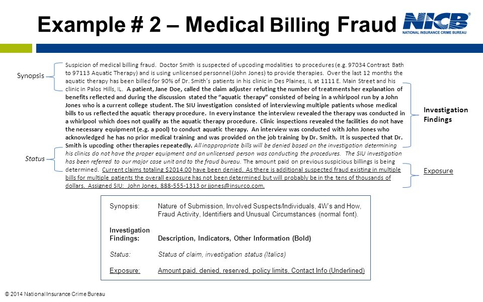Example # 2 – Medical Billing Fraud