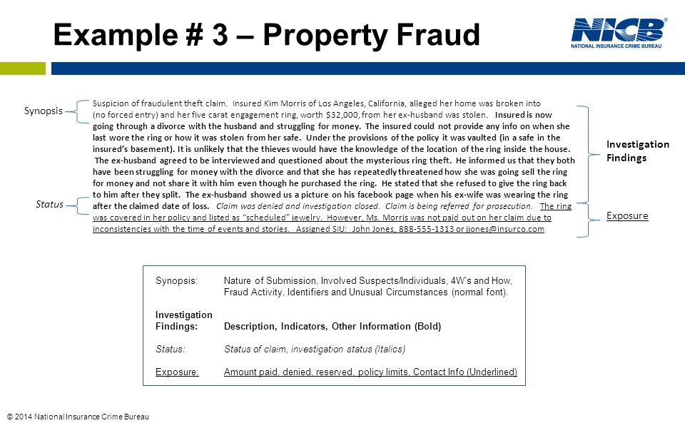 Example # 3 – Property Fraud