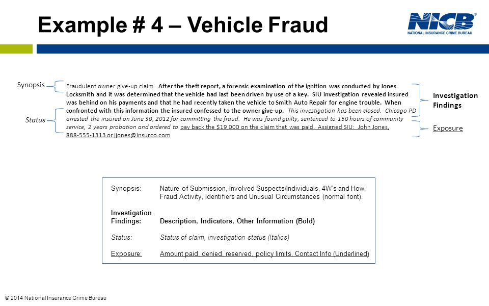 Example # 4 – Vehicle Fraud