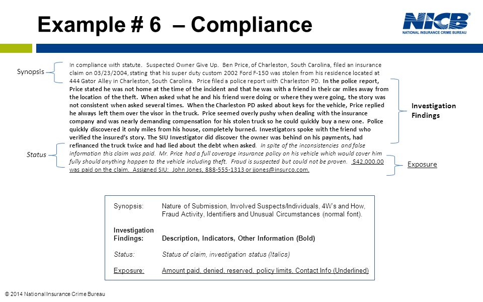 Example # 6 – Compliance Synopsis Investigation Findings Status