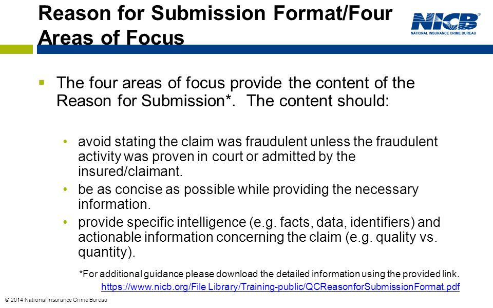 Reason for Submission Format/Four Areas of Focus