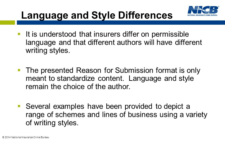 Language and Style Differences