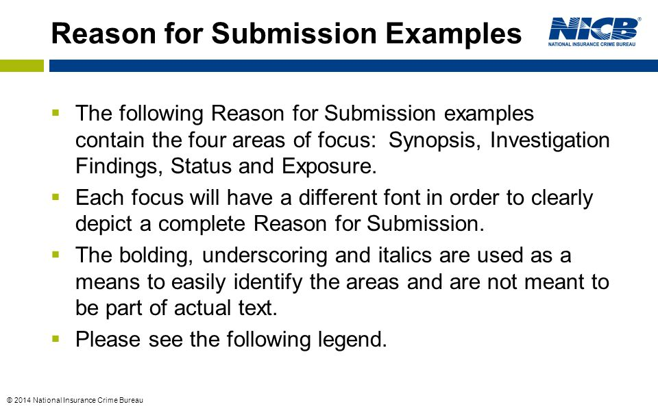 Reason for Submission Examples