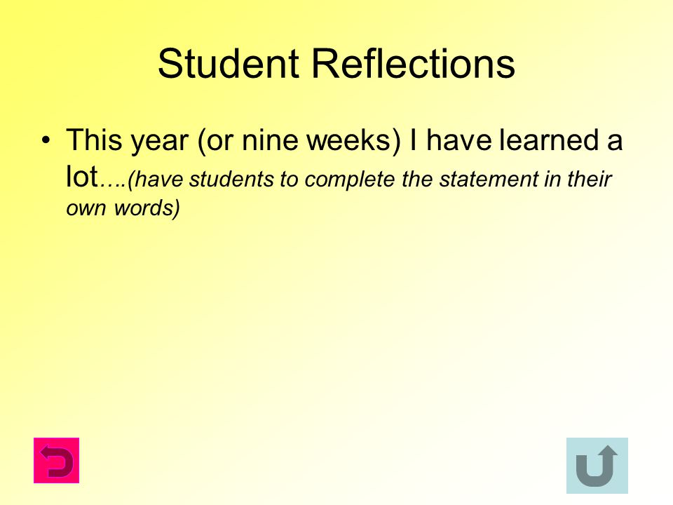 Student Reflections This year (or nine weeks) I have learned a lot….(have students to complete the statement in their own words)