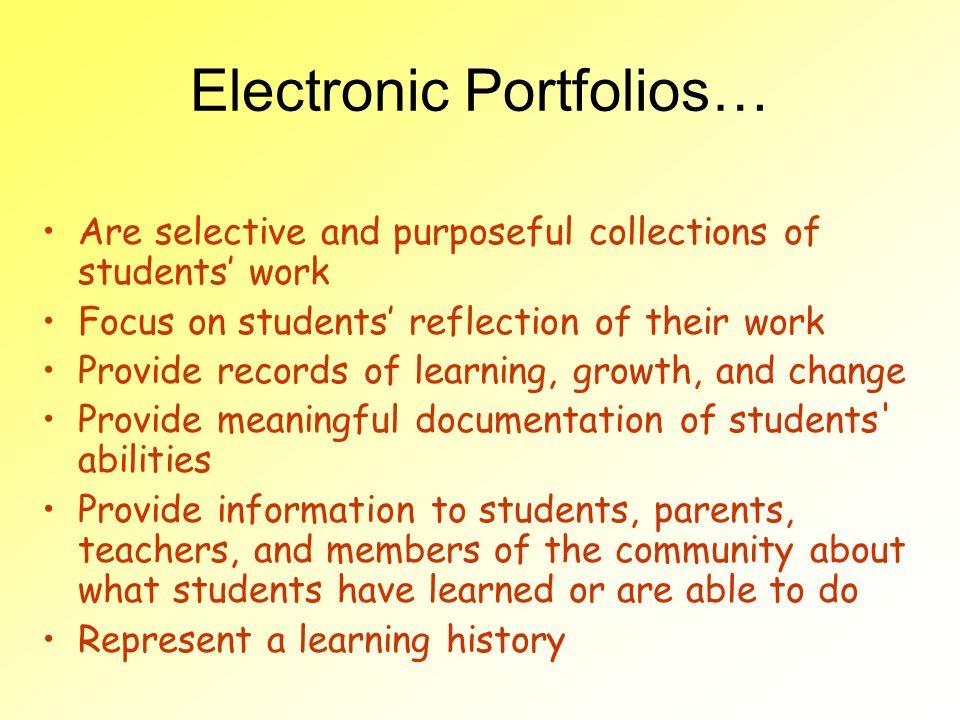Electronic Portfolios…