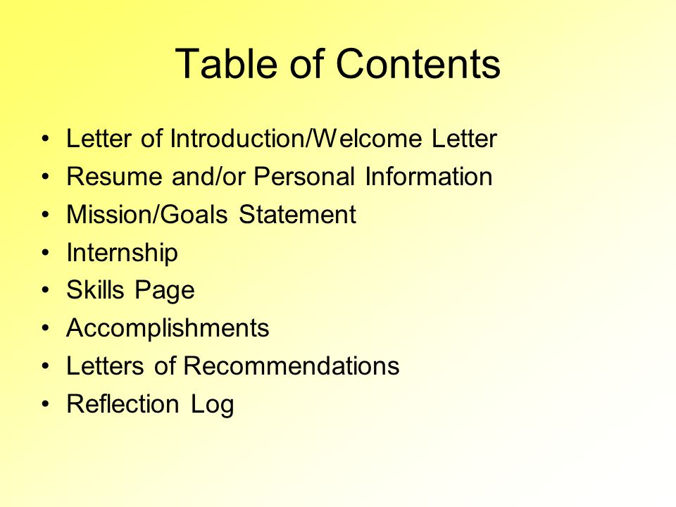 Table of Contents Letter of Introduction/Welcome Letter