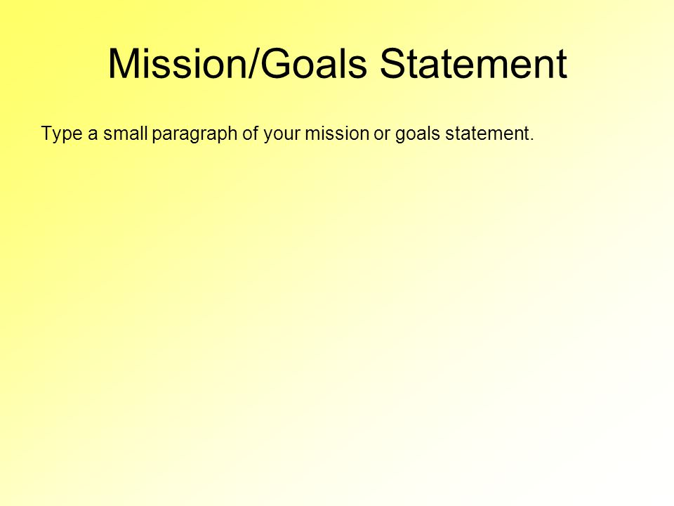 Mission/Goals Statement