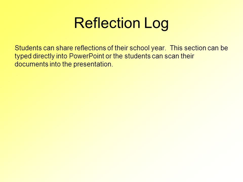 Reflection Log