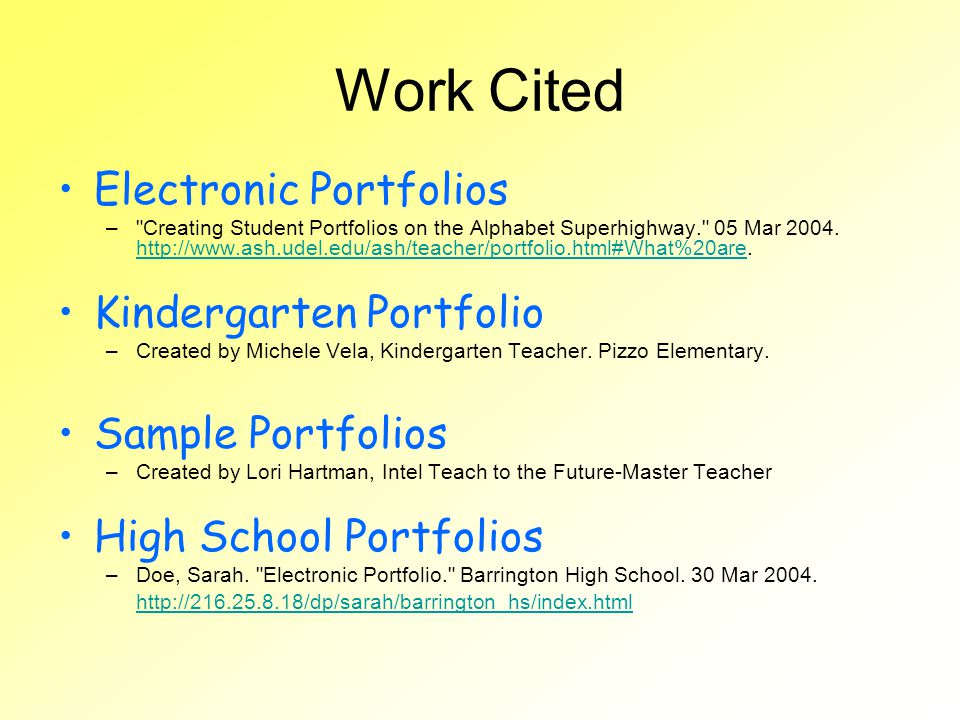 Work Cited Electronic Portfolios Kindergarten Portfolio