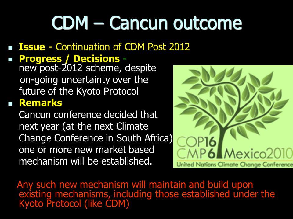CDM – Cancun outcome Issue - Continuation of CDM Post 2012