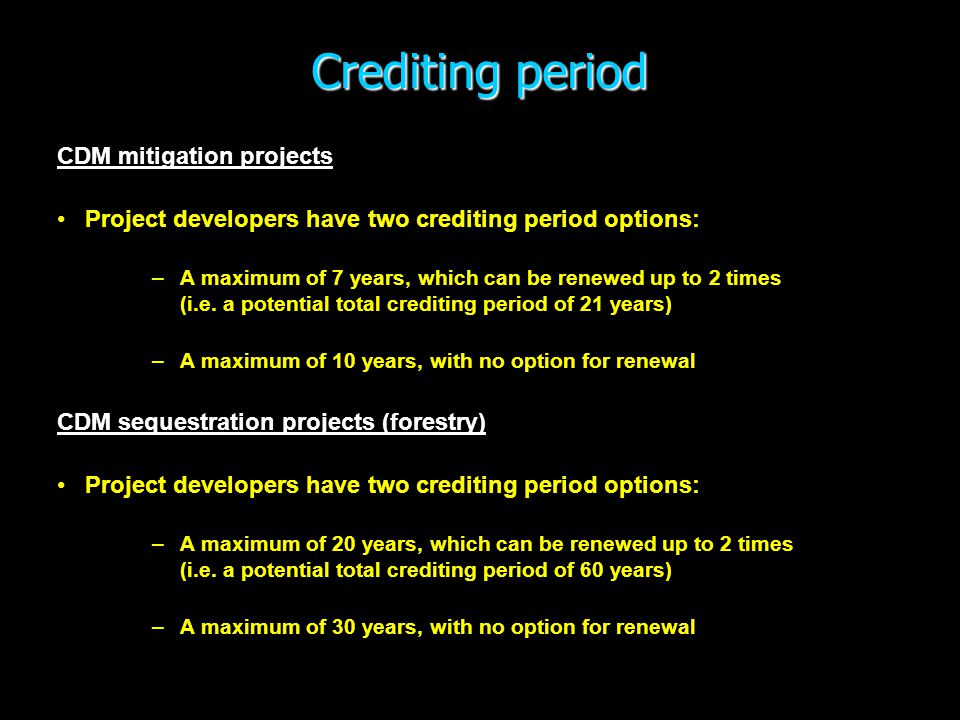 Crediting period CDM mitigation projects