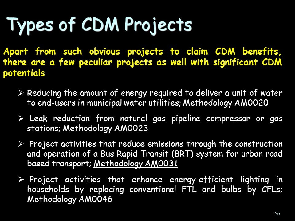 Types of CDM Projects