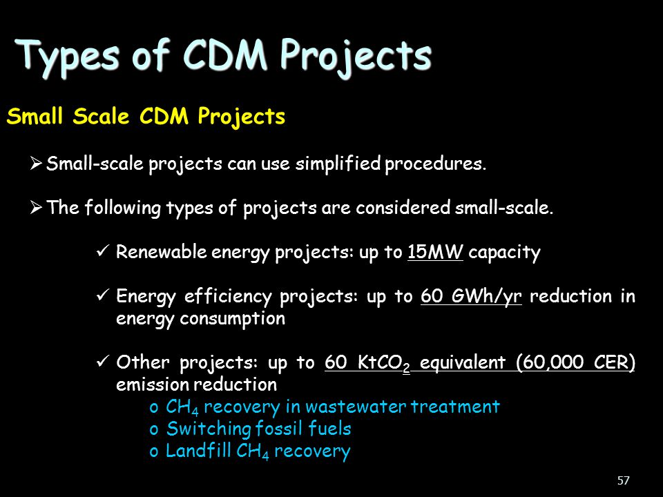 Types of CDM Projects Small Scale CDM Projects