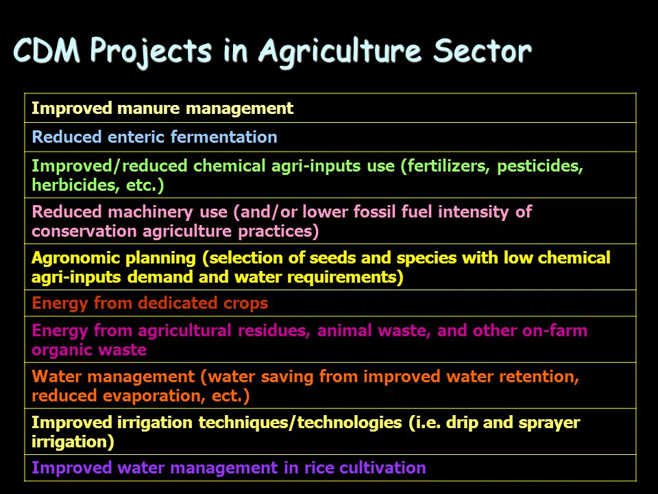 CDM Projects in Agriculture Sector