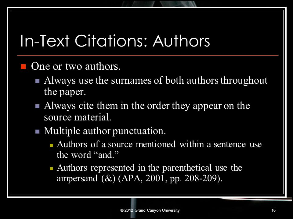 In-Text Citations: Authors