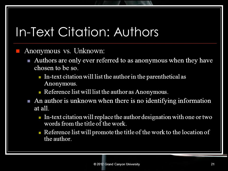 In-Text Citation: Authors
