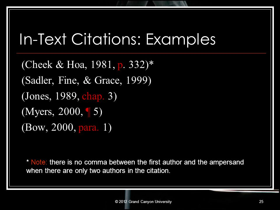 In-Text Citations: Examples