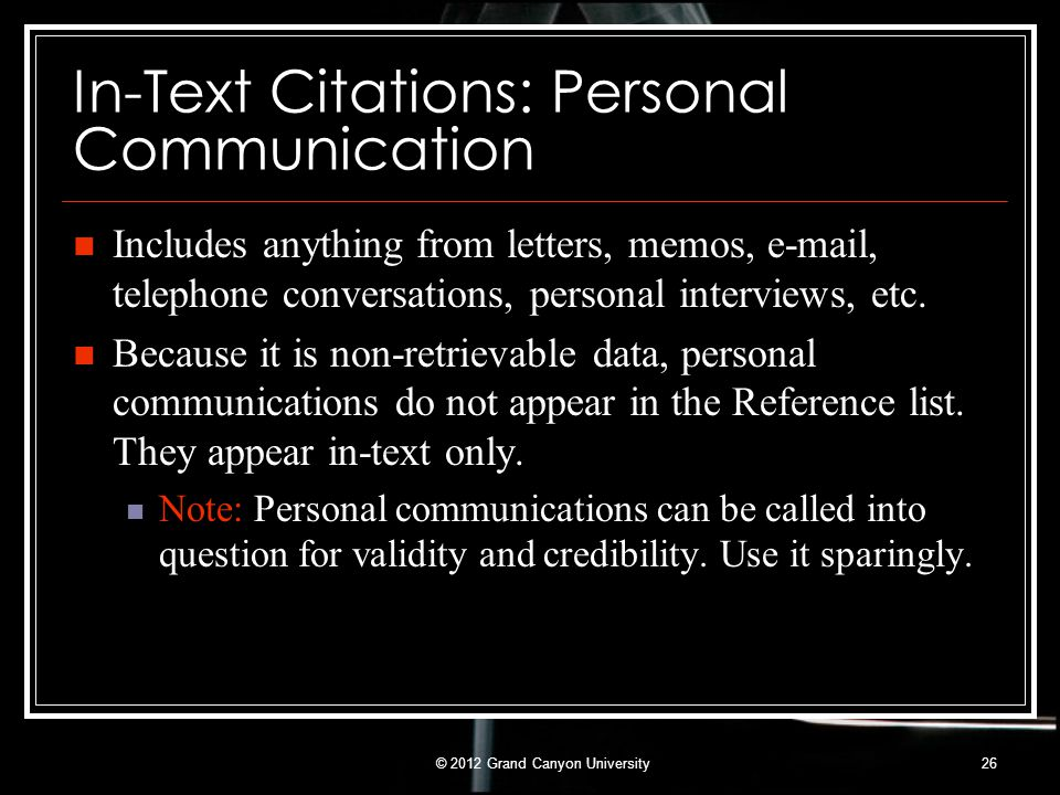 In-Text Citations: Personal Communication