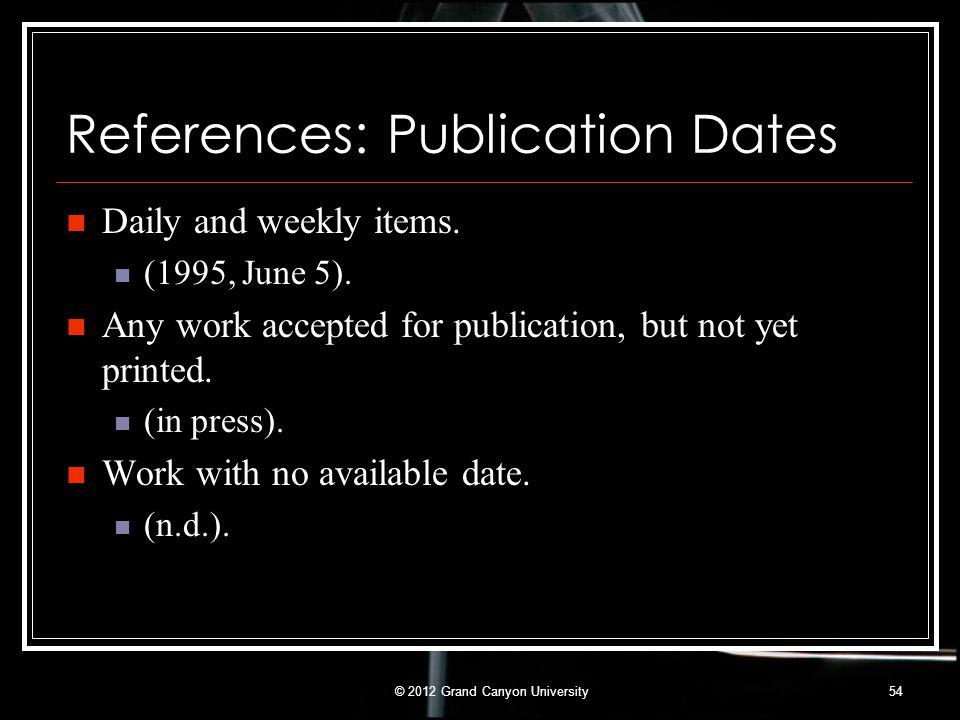 References: Publication Dates