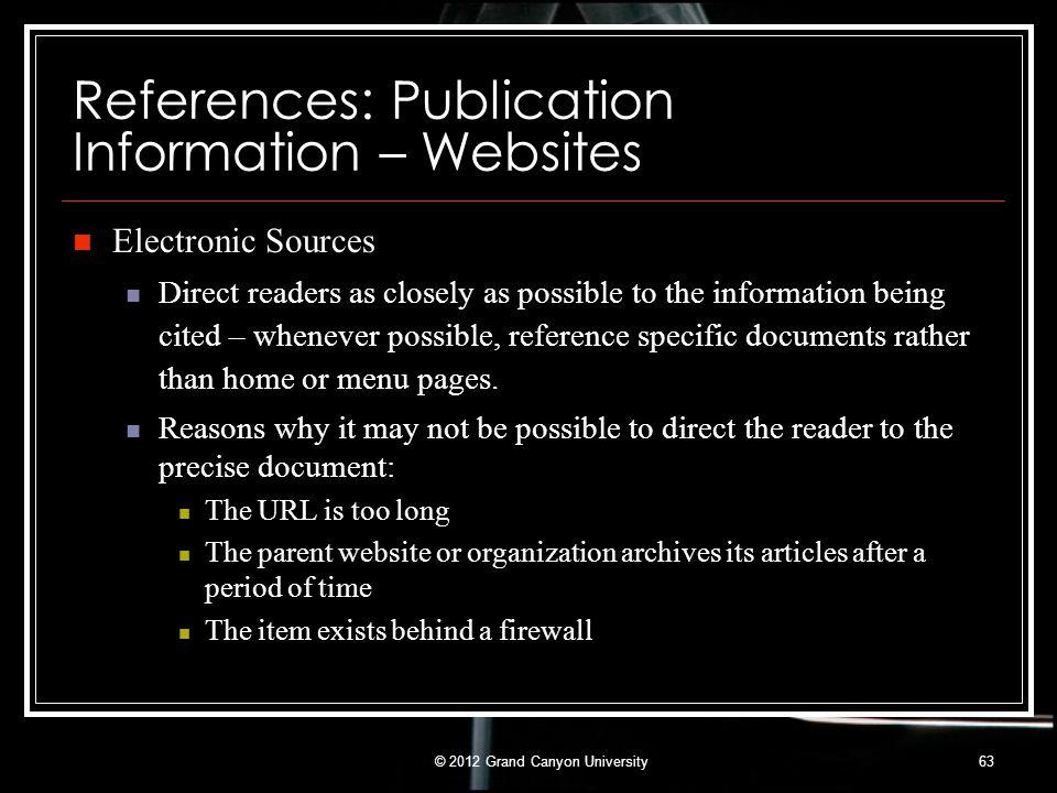 References: Publication Information – Websites
