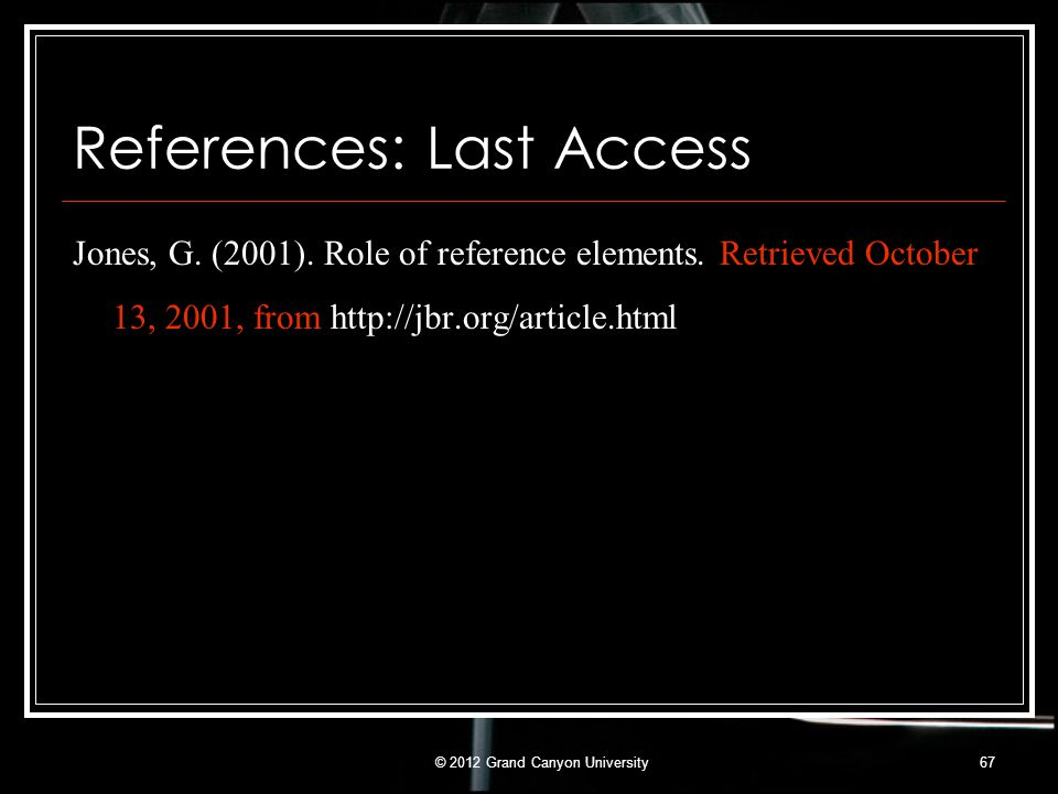 References: Last Access
