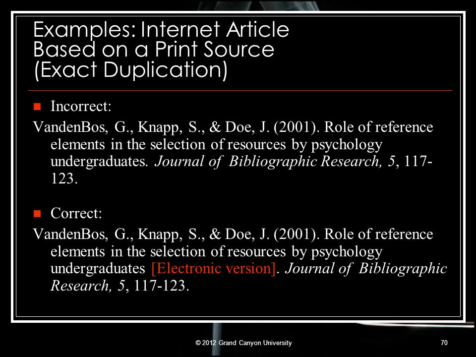 Examples: Internet Article Based on a Print Source (Exact Duplication)