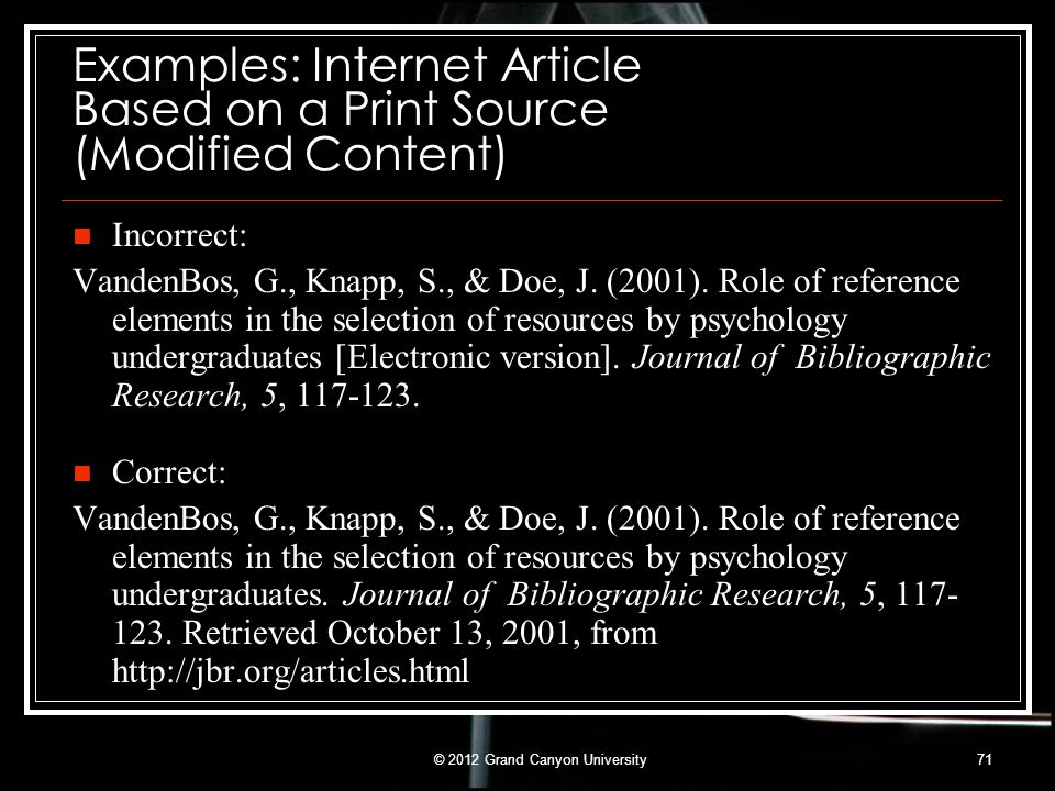 Examples: Internet Article Based on a Print Source (Modified Content)