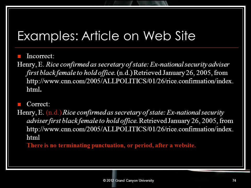 Examples: Article on Web Site