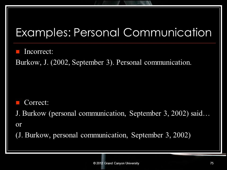 Examples: Personal Communication