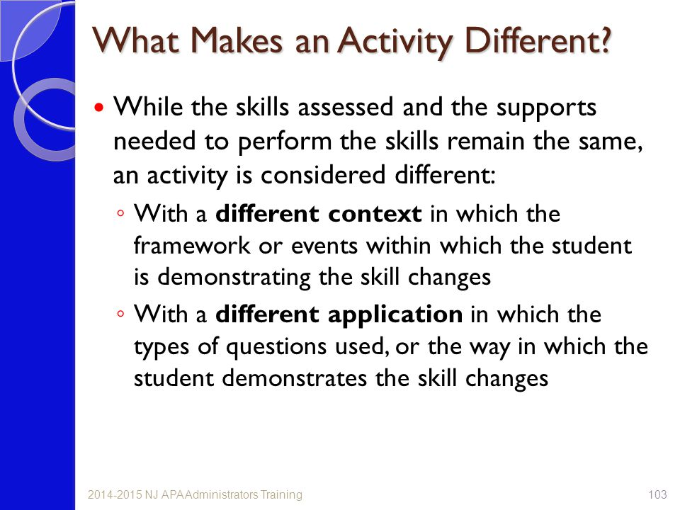 What Makes an Activity Different