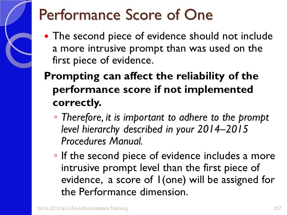 Performance Score of One