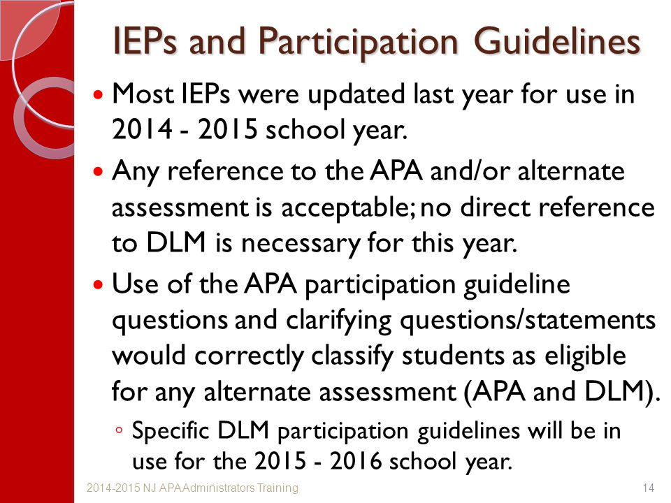 IEPs and Participation Guidelines