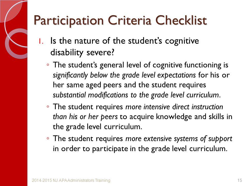 Participation Criteria Checklist